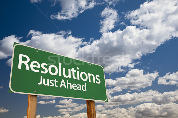 Resolutions Green Road Sign Stock photo © feverpitch
