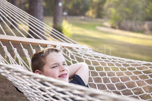 день гамак улыбаясь за пределами Сток-фото © feverpitch