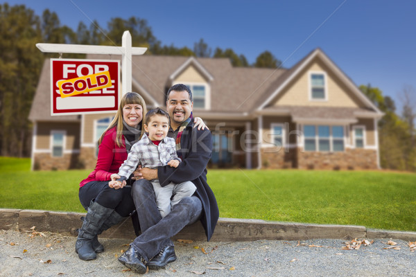Mixed Race Family, Home, Sold For Sale Real Estate Sign Stock photo © feverpitch