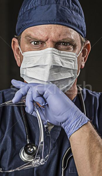 Foto stock: Determinado · olhando · médico · enfermeira · desgaste · médico · do · sexo · masculino