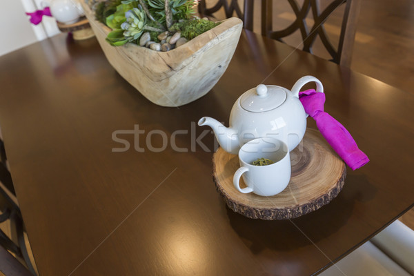 Abstract of Inviting Table Setting with Tea and Kettle Stock photo © feverpitch