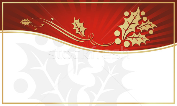 Red and Gold Holly Adorned Gift Tag Stock photo © feverpitch