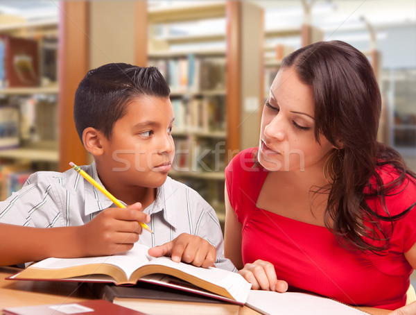 Hispanic Mother and Son Studying In Library Stock photo © feverpitch