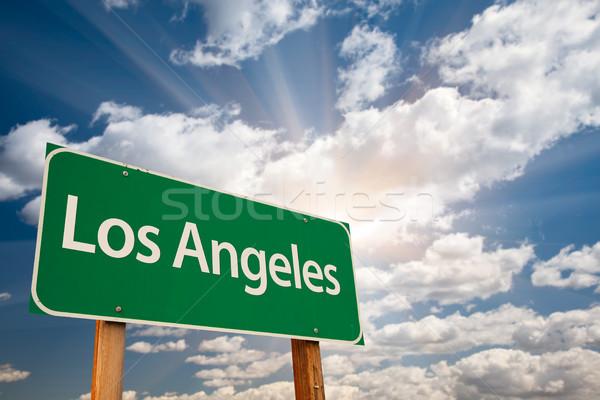 Los Angeles verde placa sinalizadora nuvens dramático céu Foto stock © feverpitch
