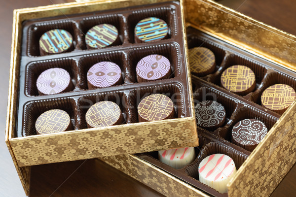Decorative Box of Artisan Fine Chocolate Candy Stock photo © feverpitch