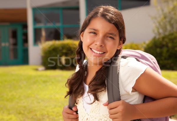 Foto d'archivio: Cute · ispanico · teen · girl · studente · pronto · scuola