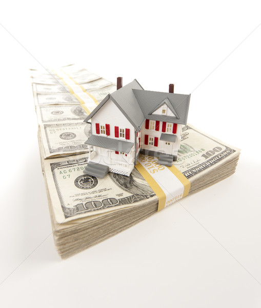 Small House on Row of Hundred Dollar Bill Stacks Stock photo © feverpitch