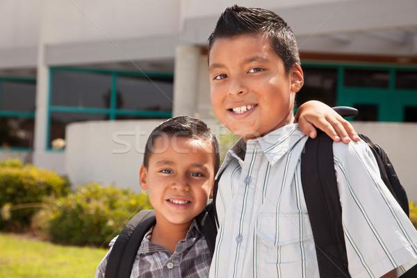 Cute bracia gotowy szkoły budynku Zdjęcia stock © feverpitch