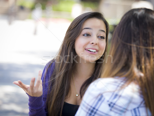 Kifejező fiatal félvér női ül beszél Stock fotó © feverpitch