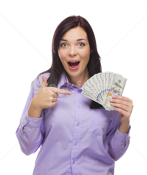 Mixed Race Woman Holding the New One Hundred Dollar Bills Stock photo © feverpitch