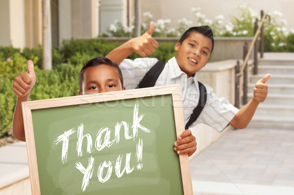 Fiúk remek tart köszönjük kréta tábla Stock fotó © feverpitch
