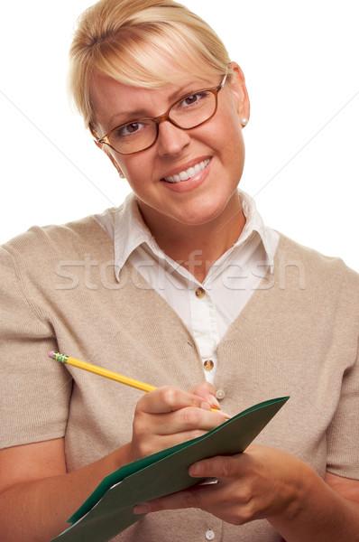 Bela mulher lápis dobrador papel trabalhar Foto stock © feverpitch