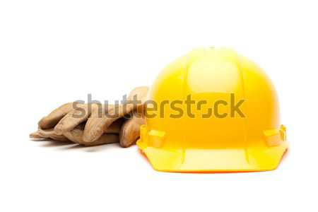 Yellow Hard Hat and Gloves on White Stock photo © feverpitch