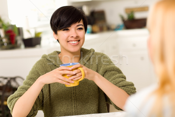 Multi-ethnic Young Attractive Woman Socializing with Friend Stock photo © feverpitch