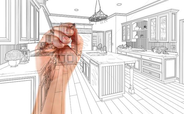 Foto stock: Mão · arquiteto · desenho · pormenor · cozinha