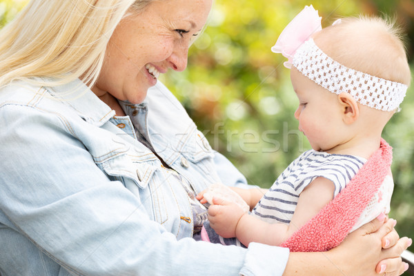 Young Caucasian Mother and Daughter At The Park Stock photo © feverpitch