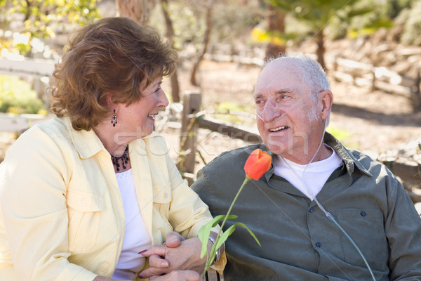 Senior Woman with Man Wearing Oxygen Tubes Stock photo © feverpitch