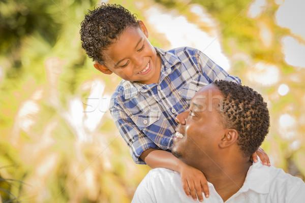 Stock foto: Glücklich · Vater-Sohn · spielen · Park · Familie