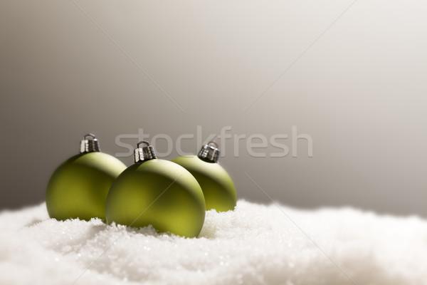Stok fotoğraf: Yeşil · Noel · süsler · kar · gri