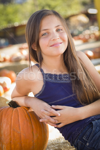 Stock photo: Preteen Girl Portrait at the Pumpkin Patch