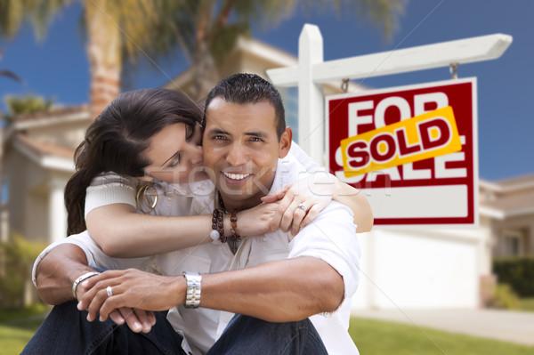 Stock fotó: Spanyol · pár · új · otthon · eladva · ingatlan · felirat