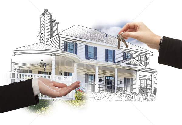 Handing Over Keys On House Drawing and Photo on White Stock photo © feverpitch