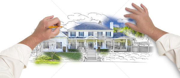 Male Hands Sketching House with Photo Showing Through Stock photo © feverpitch