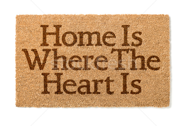 Home Is Where The Heart Is Welcome Mat On White Stock photo © feverpitch