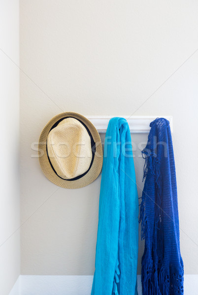 Wall in House with Hat and Scarfs Hanging on Coat Rack Hooks Abs Stock photo © feverpitch