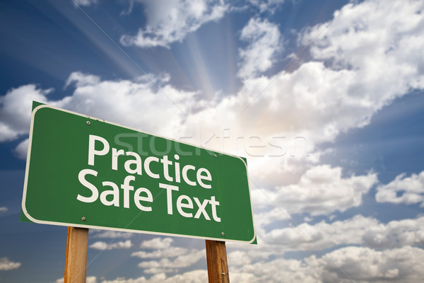 Practice Safe Text Green Road Sign Stock photo © feverpitch
