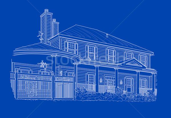 Casa blanca dibujo azul casa construcción Foto stock © feverpitch