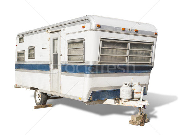 Classic Old Camper Trailer on White Stock photo © feverpitch