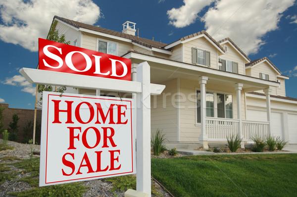 Venduto home vendita segno casa Foto d'archivio © feverpitch