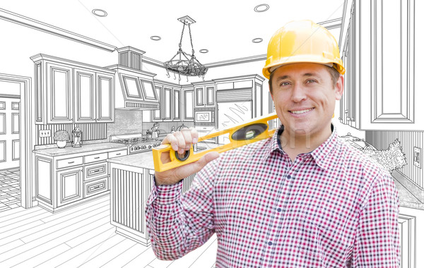 Contractor in Hard Hat with Level Over Custom Kitchen Drawing Stock photo © feverpitch