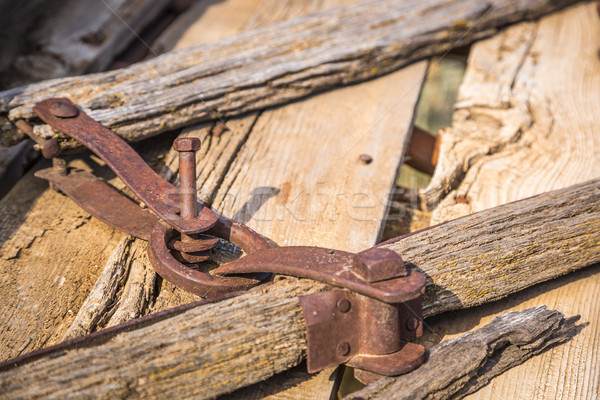 Abstract of Vintage Antique Wood Wagon Parts. Stock photo © feverpitch