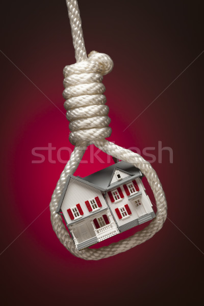 Stock photo: House Tied Up and Hanging in Hangman's Noose on Red