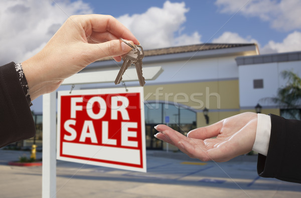 Stock photo: Agent Handing Over the Keys in Front of Business Office