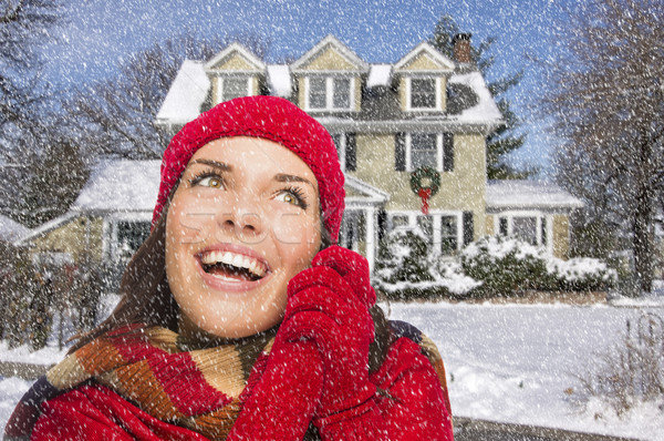 Foto stock: Sorridente · mulher · inverno · roupa · fora