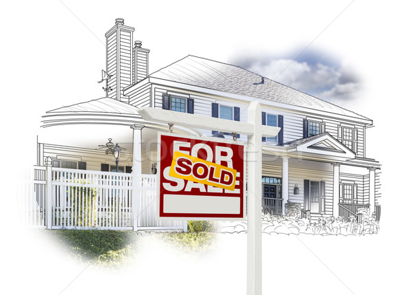 Huis uitverkocht teken tekening foto witte Stockfoto © feverpitch