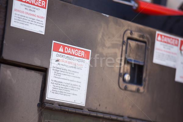 Overturning Hazard Notice on Utility Truck Stock photo © feverpitch