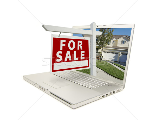 Red For Sale Sign on Laptop Stock photo © feverpitch