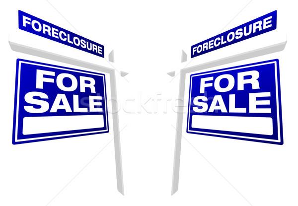 Stockfoto: Paar · uitsluiting · verkoop · onroerend · borden · Blauw