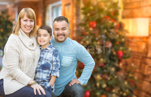 Stock photo: Young Mixed Race Family In Front of Christmas Tree