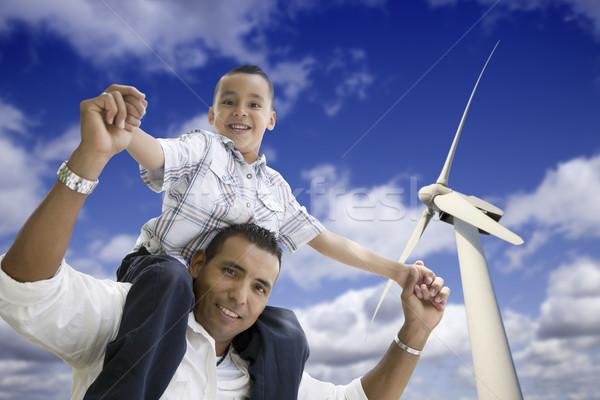 Stockfoto: Gelukkig · latino · vader · zoon · windturbine · blauwe · hemel · familie