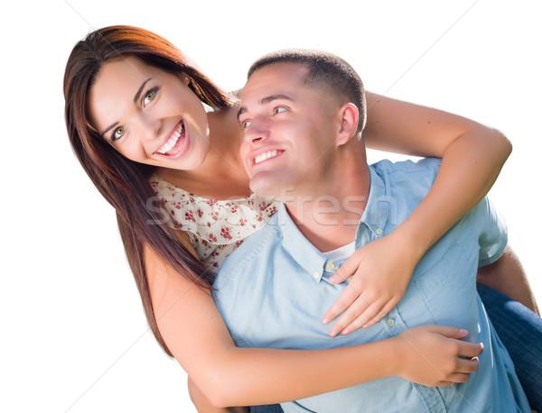Romântico militar casal piggyback retrato Foto stock © feverpitch