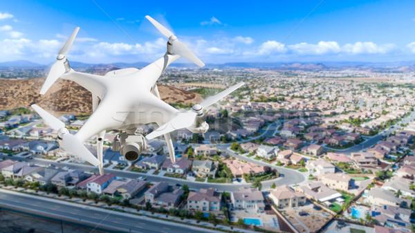 Vliegtuigen lucht woon- buurt hemel huis Stockfoto © feverpitch