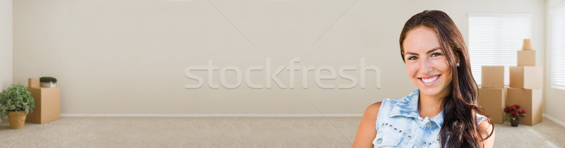 Mixed Race Young Girl Inside Empty Room wioth Moving Boxes Banne Stock photo © feverpitch