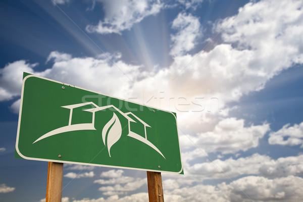 ストックフォト: デザイン · 道路標識 · 緑 · 劇的な · 空
