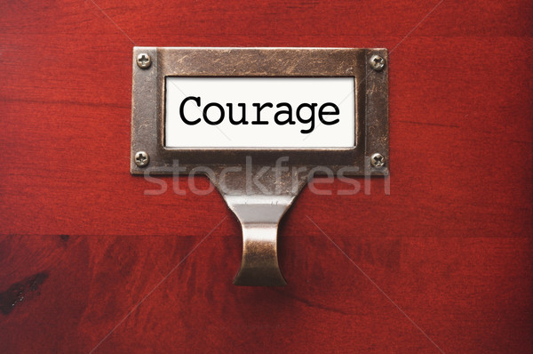 Lustrous Wooden Cabinet with Courage File Label Stock photo © feverpitch