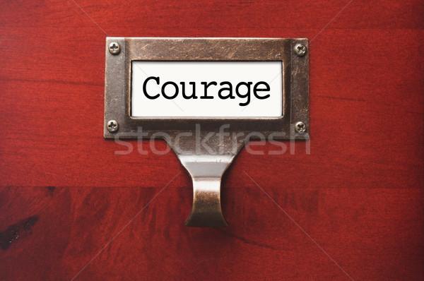 Szafka odwaga pliku etykiety dramatyczny Zdjęcia stock © feverpitch